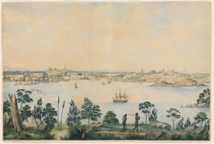 A view of Sydney in the late 1820s. Dixson, State Library of NSW.