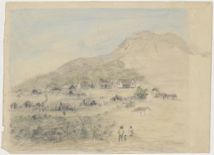 Sketch of goldfield in Victoria, mid 1850s. H28122, State Library of Victoria.