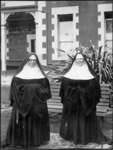 Sister Mary Kostka Kirby (1863-1952) and Sister Mary Augustine Mullally, Catholic nuns of the Sisters of Mercy in Dunedin, ca 1934. Sisters of Mercy Dunedin Archive - Ref: natlib.govt.nz.emu 1/2-199100-F