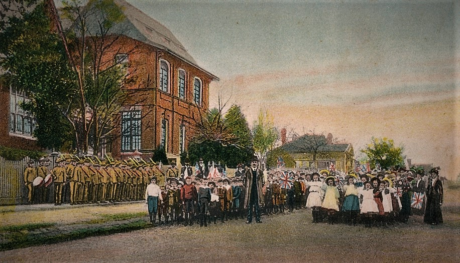 Surrey Hills State School, children and teachers, Victoria, 1911. State library of Victoria, H2008.12/112
