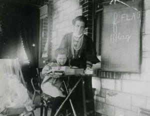 SLSA B48797 Girl being taught at home by aunt Blackwood SA