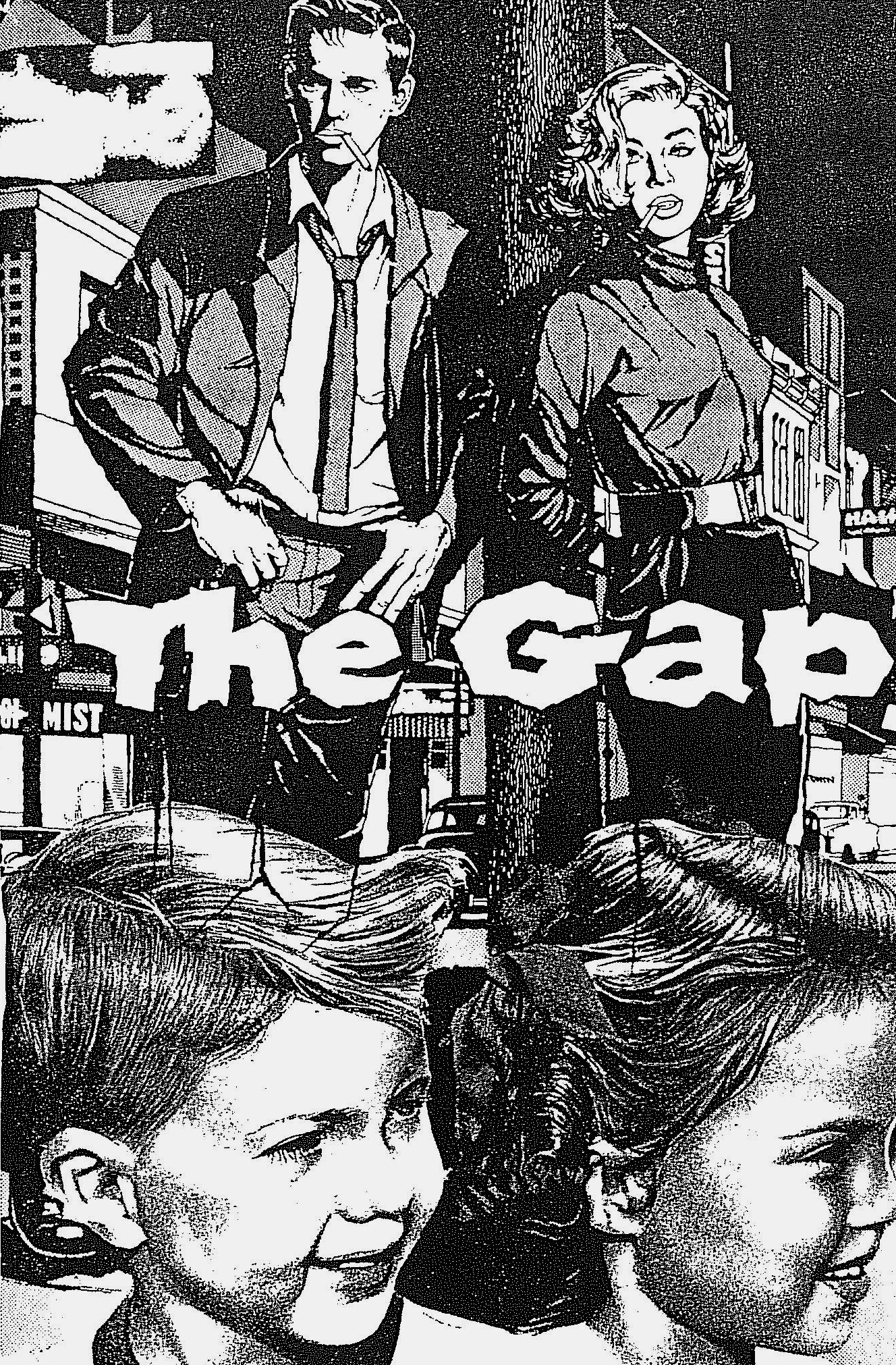 Tame adolescents break out in the 1950s. Bodgies and widgies on the street, escaping the regular adolescence, 1958. Cover art, The Gap, Ainslie Roberts & Adelaide Art Engravers.