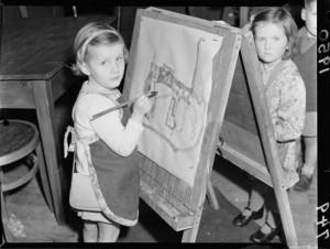Children at Kelburn Playcentre. Negatives of the Evening Post newspaper. Ref: 114/150/04-F. Alexander Turnbull Library, Wellington, New Zealand. http://natlib.govt.nz/records/23193939