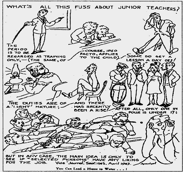 The teachers' union cartoon portraying the problem with the junior teacher system, 1943