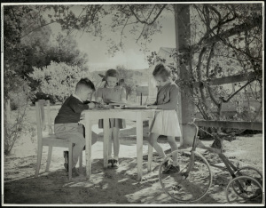 Three happy pupils at work in the open air. 15051_a047_003378 © State of New South Wales through the State Records Authority of NSW