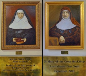 These paintings in the narthex of St Patrick's Cathedral' Auckland' show Mother Cecilia Maher (1799-1878), leader of the first group of Catholic Sisters to come to Aotearoa in 1850 and Mother Mary MacKillop, (1842-1909) the founder of the Sisters of St Joseph of the Sacred Heart.