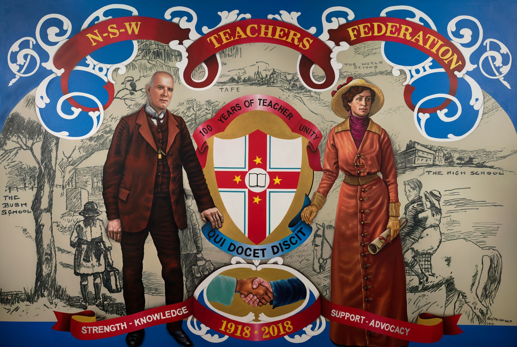 NSWTF Centennial Marching Banner. NSW Teachers Federation Collection