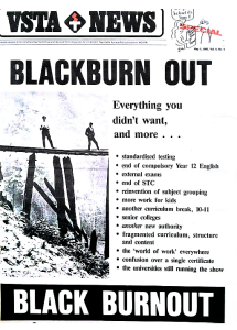 Figure 5: The VSTA teachers union objects to Jean Blackburn's report to the Victorian government, 1985