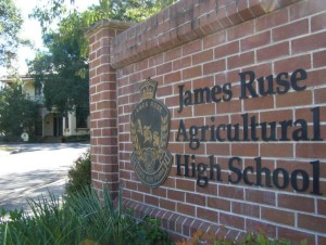 The entrance to James Ruse Agricultural High. From the late twentieth century this school achieved high Year 12 results and great demand for enrolment. Photographer unknown.
