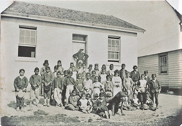Students and teachers from Coranderk, c 1878. State Library of Victoria, H41139/80