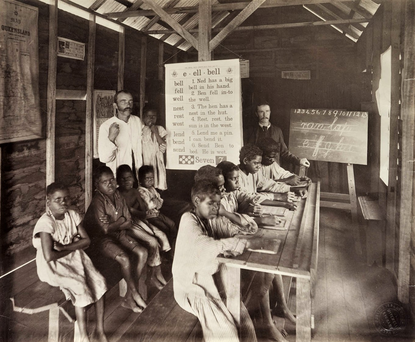 An image from the newly founded state school on the Yarrabah Mission in North Queensland, 1893. State Library of NSW, SPF/1237