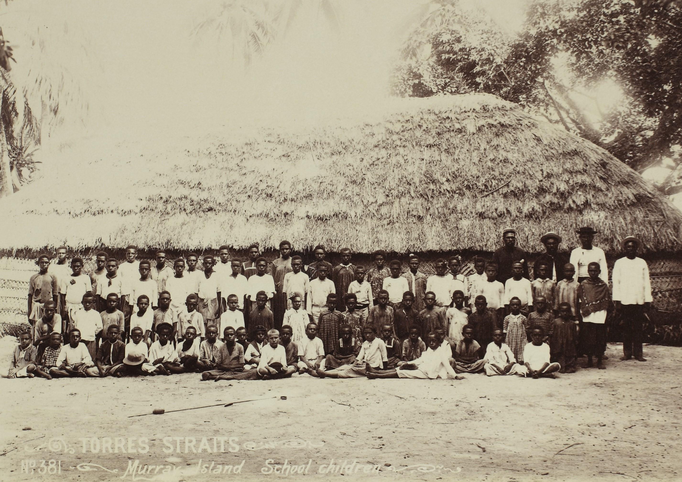 School children, Murray Island, Torres Strait, Queensland, c 1895. Fryer Library, University of Queensland, UQFL 10/634