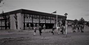 Typical, purpose built comprehensive high school in suburban Sydney. Miller High School 1965.